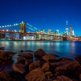Beautiful shot of Brooklyn Bridge. At sunset Stock Photos