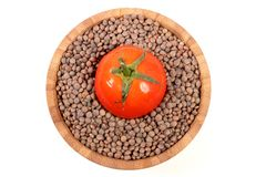 Brown lentils. Beautiful shot of brown lentils in bowl Stock Photography