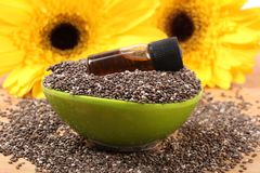 Chia seedsand oil Stock Images