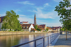 Beautiful shot of the church and castle of Landshut. Still picture of Landshut, Germany in Bavaria Stock Image