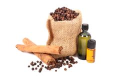 Clove and cinnamon oil Royalty Free Stock Image