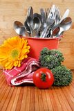 Cutlery and vegetables Royalty Free Stock Images