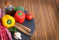 Food ingredients. Beautiful shot of food ingredients on wooden background Stock Image