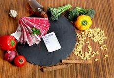 Food ingredients. Beautiful shot of food ingredients on wooden background Stock Photography