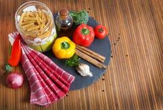 Food ingredients. Beautiful shot of food ingredients on wooden background Stock Photos