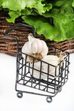 Garlic and spinach Royalty Free Stock Images