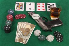 Gambling. Beautiful shot of gambling table with items over it royalty free stock images