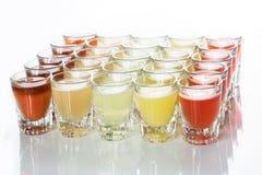 Beautiful shot glasses back lit Stock Photo