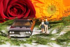 Honeymoon couple. Beautiful shot of honeymoon couple with car and flowers Stock Photos