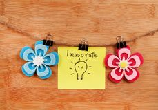 Innovate. Beautiful shot of innovate written on yellow chit with flowers stock photos