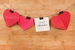 Just married. Beautiful shot of just married written on white chit royalty free stock images