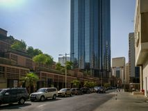 Beautiful shot The Mall road and entrance with the World trade center Sheikh Mohammed Bin Rashid Tower.  Stock Images
