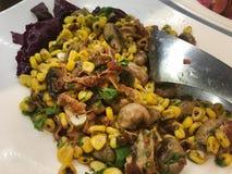 Mushroom and corn salad. Beautiful shot of mushroom and corn salad in hotel plate stock photography