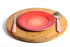 Red plate and cutlery Stock Photography