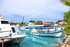 Boats in maldives Stock Photo