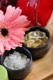 Sea salt and vitamin capsules Royalty Free Stock Photo