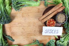 Spices. Beautiful shot showing indian spices with vegetables in border Royalty Free Stock Photos