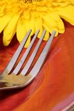 Fork. Beautiful shot of  stainless steel fork with flower Royalty Free Stock Photography