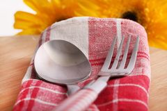 Fork and spoon. Beautiful shot of  stainless steel fork and knife Royalty Free Stock Image