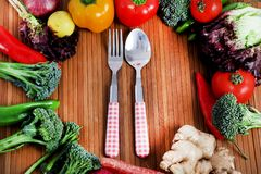 Vegetables and cutlery Stock Photography