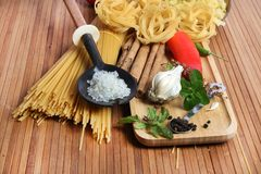 Pasta and ingredients Stock Photo