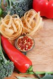 Pasta and ingredients Royalty Free Stock Photos