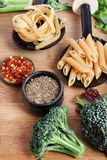 Pasta and ingredients Royalty Free Stock Photo