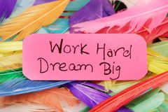 Work hard dream big. Beautiful shot of work hard dream big written on paper with background made of feathers stock photos
