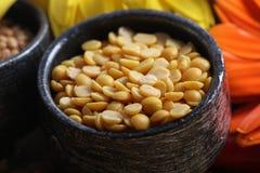 Yellow lentil. Beautiful shot of yellow lentil in bowl Stock Photo