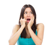 Beautiful shouting yelling happy woman smiling Royalty Free Stock Image