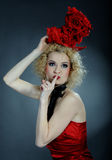 Beautiful show cabaret girl with stage make-up Royalty Free Stock Photo