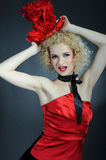 Beautiful show cabaret girl with stage make-up Stock Photography