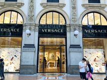 Showcase of Versace Store in Milan,Italy stock image