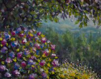 Beautiful shrub of lush colorful flowers. Green forest and mountains. Oil painting art. Beautiful shrub of lush colorful flowers under a tree. Green forest and Royalty Free Stock Image