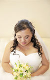 Beautiful shy asian bride Royalty Free Stock Photo