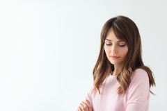 Beautiful shy woman portrait with copy space Stock Image