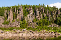 Beautiful Siberian rivers. Around only rocks. Royalty Free Stock Photography