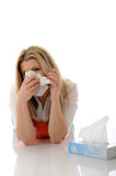 Beautiful Sick Girl With Flu With Paper Tissues Royalty Free Stock Photos