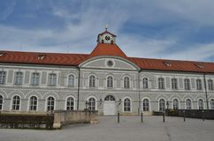 Beautiful side building of Nypmhenburg castle in Munich in Germany royalty free stock photography