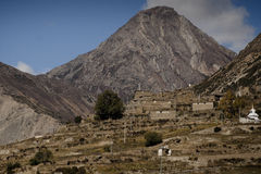 Beautiful side-valley on the way from Manang Stock Photo