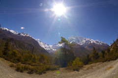 Beautiful side-valley on the way from Manang to Thorung Phedi Royalty Free Stock Image