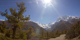 Beautiful side-valley on the way from Manang to Thorung Phedi Royalty Free Stock Photos
