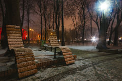 Beautiful silent night in winter city outdoor Stock Photo