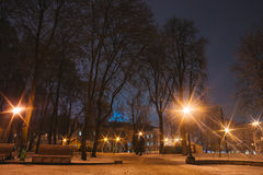 Beautiful silent night in winter city outdoor Stock Images
