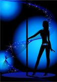 Beautiful silhouette. Of young women dancing a striptease Stock Photography