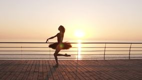 Beautiful silhouette of ballerina in ballet tutu and point on embankment above ocean or sea at sunrise. Young beautiful