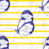 Beautiful silhouette butterfly.vector seamless background Royalty Free Stock Photography