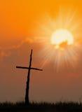 Beautiful silhouette of Cross stock photo