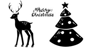 Beautiful silhouette deer, christmas tree. Side view. hand drawn picture sketchy. Merry Chistmas. royalty free illustration