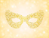 Beautiful silhouette golden mask on the background Royalty Free Stock Images